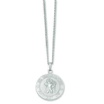 24in Rhodium-plated St. Christopher Medal Necklace KW418