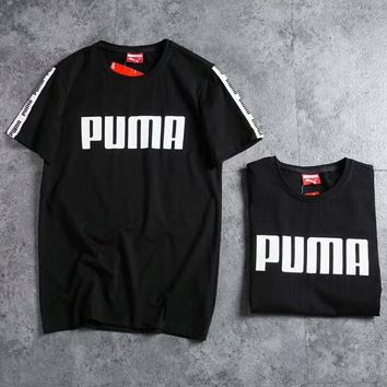PUMA 2018 summer new fashion breathable sports casual short-sleeved trousers two-piece F-CY-MN Black