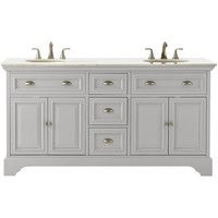 Home Decorators Collection Sadie 67 in. W Vanity in Dove Grey with Marble Vanity Top in Natural White with White Basins-9673300270 - The Home Depot
