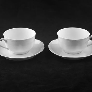 Haviland Limoges Ranson 2x Flat Cup and Saucer Sets, 4pc Set, Schleiger 1