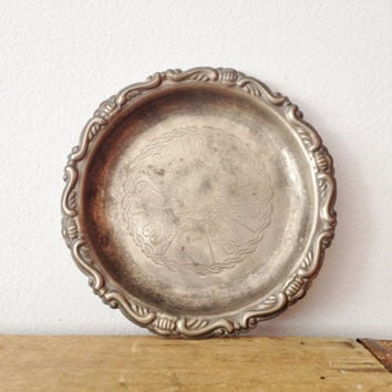 Round Silver Tray - Coaster - Wine Bottle Coaster - Made in Italty - Silver Plated