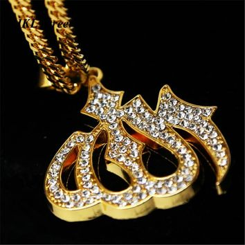 Mens Gold Iced Out CZ Allah Muslim Charm Pendant Hip Hop Bling Quran God Necklace Islamic CZ Arabic Muslim Gift
