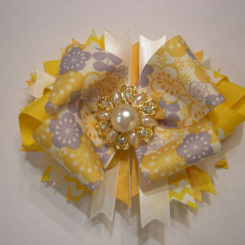 Sunny Yellow Floral Boutique Bow with Rhinestone Center