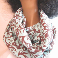 Handmade Infinity Scarf - Blue and Brown Damask Circle Infinity Scarf