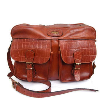 El Campero Big Leather Satchel, Italian Leather Bag, School Messenger, Brown Shoulder Bag, Whiskey Safari Bag, Cognac Postman Crossbody Bag