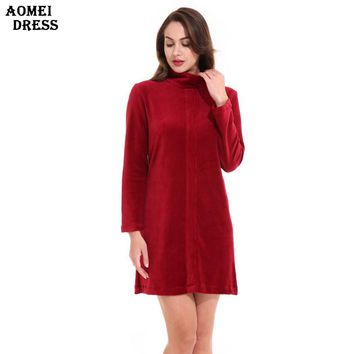 Women Wine Red Winter Velvet Mini Dress Female Warm Velour Zipper Long Sleeves Dresses Women Clothes Robes Gowns