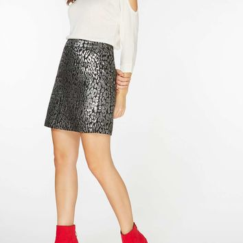 Metallic Animal Jacquard Skirt | Dorothyperkins