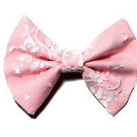 Pink Lace Hair Bow