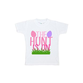 Custom Party Shop The Hunt Is On Girls' Novelty Easter Tshirt