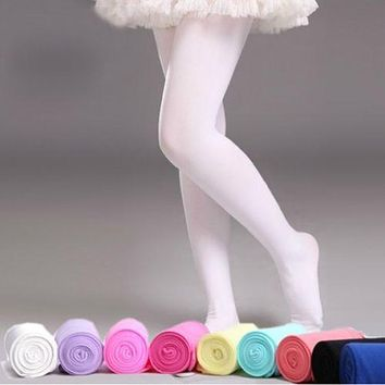 1 X 5 Solid Colors Soft Kawaii Lovely Velvet Children Girl Kids Pantyhose Tights Opaque Dance Tights Stocking Pants for 4-9 Year