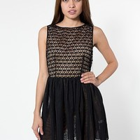 Sleeveless Lace Chiffon Dress | Mini | Women's Dresses | American Apparel