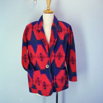 80s Fleece Jacket Southwestern Blanket Soft Blazer