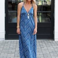 Veronica M Halter Maxi- Chevron Print Halter Maxi-$115.00 | Hand In Pocket Boutique