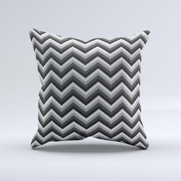 Sharp Layered Black & Gray Chevron Pattern Ink-Fuzed Decorative Throw Pillow