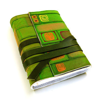 Spring Journal - Leather Journal Green and Orange Leather Notebook - Modern Geometric Design - Lemon Green Spring
