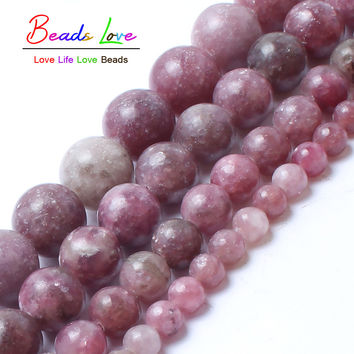 Natural Stone Beads Lepidolite Round Loose Beads For Jewelry Making 4/6/8/10mm 15.5inches DIY Bracelet Free Shipping
