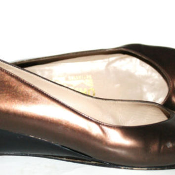 Vintage Ferragamo Wedge Heel Shoes/ Cap toe/ Wingtips Size 8