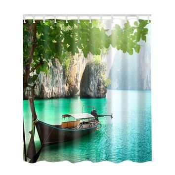 Bamboo/Colorful Tree / Deer /Vessel /Stone  Shower Curtain