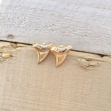 Golden Shark Tooth Stud Earrings
