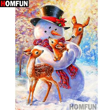 5D Diamond Painting Snowman and the Deer Kit