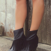 Very Volatile Khloe Black Fringe Booties With Chunky Wedge Heel