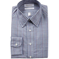Gold Label Roundtree & Yorke Fitted Point-Collar Dress Shirt - Navy/Mu