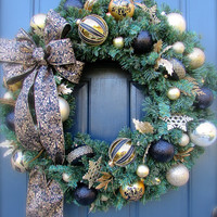 Black Gold Christmas Wreath Large Holiday Wreaths Gold Christmas Door Wreaths