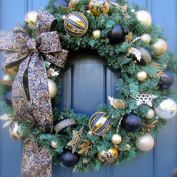 Black Gold Christmas Wreath Large Holiday Wreaths Door