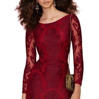 Red Lace Nine-Minute Sleeve Dress