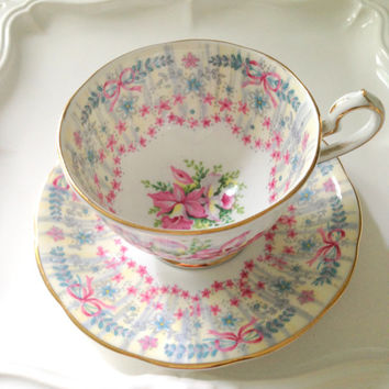 English Fine Bone China Demitasse Tea Cup and Saucer Wedding Royal Bridal Gown Queen Anne Pattern Tea Party