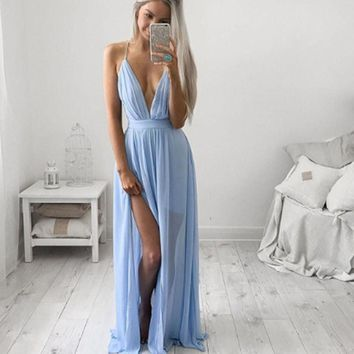 Maxi Dress Women Summer Style  Sleeveless Boho Chiffon dress Long Party Dresses hot deep V-neck Vestidos Longos Jurk#5