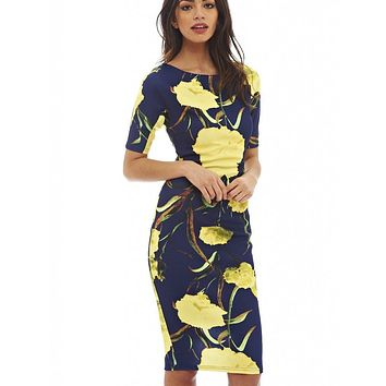Women Dress Elegant Floral Print Work Business Casual Party Summer Sheath Vestidos 106-12