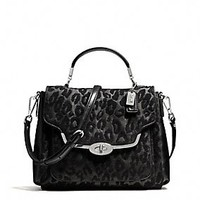 MADISON SMALL SADIE FLAP SATCHEL IN CHENILLE OCELOT