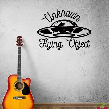 Wall Decal Unknown Flying Object Flying Saucer Extraterrestrials Space Vinyl Sticker (ed918)