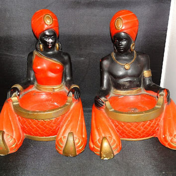 Rare Vintage Chalk 2 Antique Chalkware Black Genie Ashtrays PGH STATUARY Man & Woman Burma