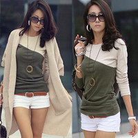New Korea Casual Womens Patchwork Long Sleeve T-shirt Tee Top