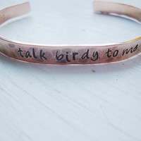 Talk birdy to me hammered hand stamped copper cuff with little birds