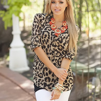 Leopard Instincts Button Up Top