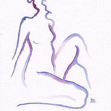Purple nude watercolor sketch. Original wall art. Minimalist figure drawing.