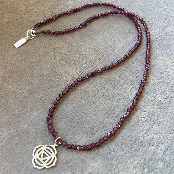 Fine Faceted Garnet and Sterling Silver Root Chakra Pendant Necklace