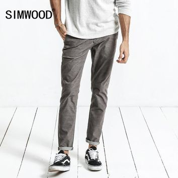 SIMWOOD 2018 Spring New Casual Pants Men Slim Fit Corduroy Fashion Trousers Vintage Male Plus Size Brand Clothing XC017011