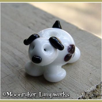 White Spotted Puppy Lampwork Bead