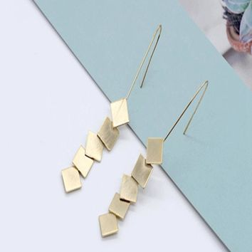 2018 South Korea New Style Of Wire Drawing Long Square Earrings Personality Simple Fringes  Anti Allergy Steel Needle Ear Studs