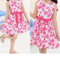 Girls Sleeveless Floral Summer Dress