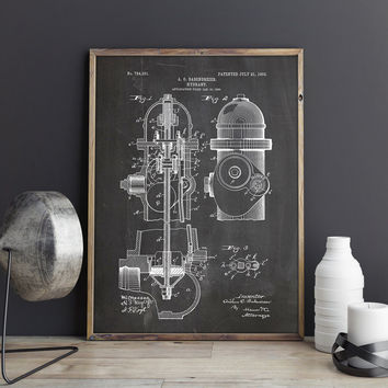 Firefighter Decor, Fire Hydrant Patent, Firefighter Art Gift, Firefighter Wall Art, Fireman Art Gift, Firefighter Art, Art, INSTANT DOWNLOAD