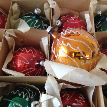 Mid Century Modern Hand Made Glass Ball Christmas Tree Ornaments Made in Austria Red Yellow Green