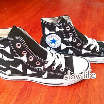 Geometric pattern painted shoes/Converse canvas shoes/Custom canvas shoes/Converse Sho