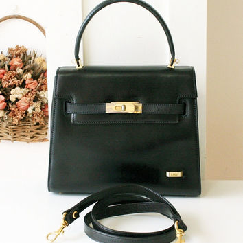 Bally Bag classic authentic black tote kelly handbag with strap