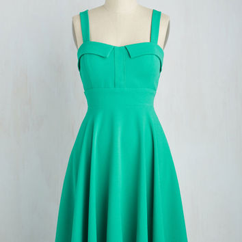 Pull Up a Cherry Dress in Jade | Mod Retro Vintage Dresses | ModCloth.com