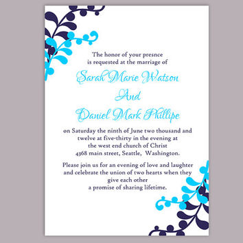 DIY Wedding Invitation Template Editable Word File Instant Download Printable Leaf Invitation Blue Invitations Elegant Navy Blue Invitation